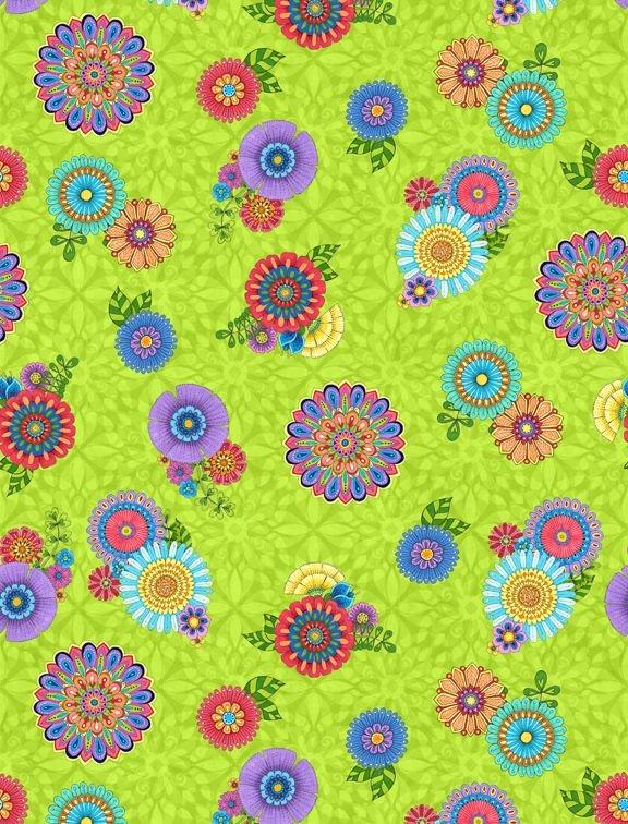 Safari So Goodie Tossed Flowers Lime 77631 736
