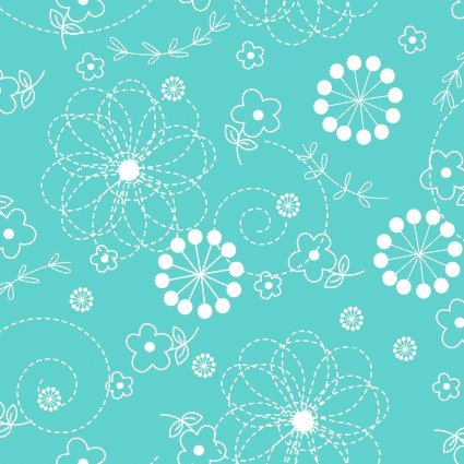 Lil' Sprout Flannel Too Doodles Teal F8229Q
