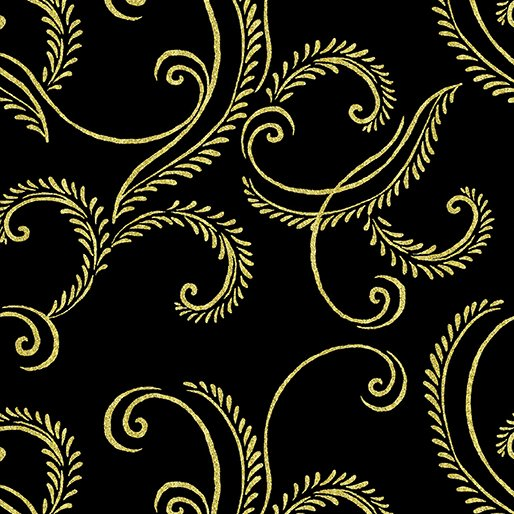 Autumn Splendor Gold Garland Black 8419M12B