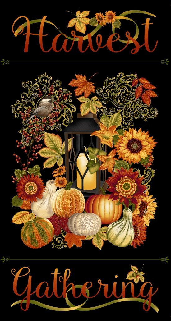 Harvest Gathering Panel 24 x 44 Black 8768P-99