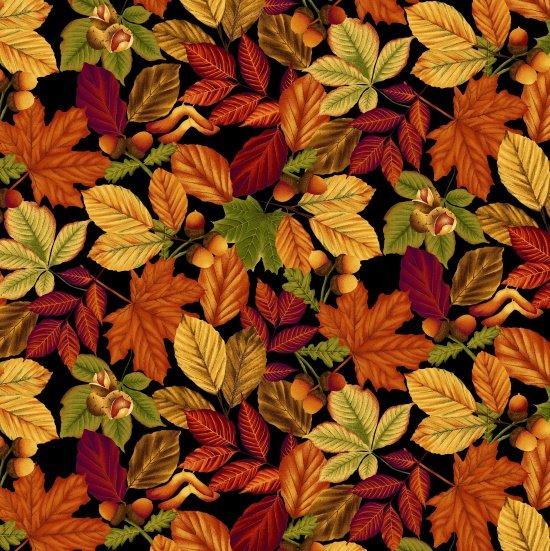 Harvest Gathering Leaves Black 8770-99