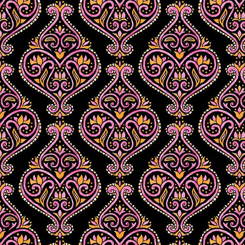 Mandala Tango Damask Black 9653-99