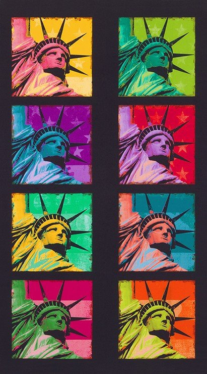 Bright Statue of Liberty Digital Panel 24in repeat ANQD-18327-195 BRIGHT