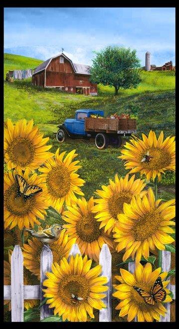 Country Paradise Sunflower Panel 24 Panel B9353P-44