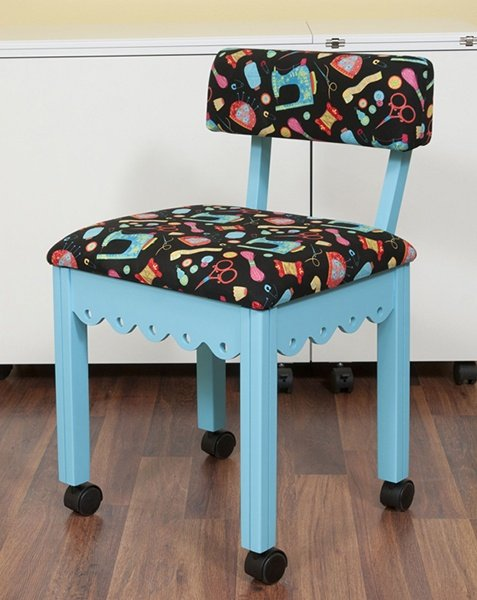 Blue Sewing Chair with Black Sewing Room Notions