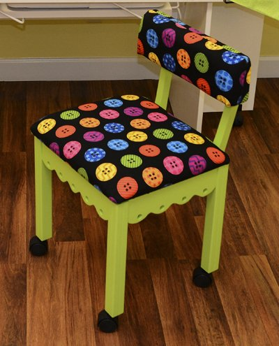 Green Sewing Chair Riley Blake Buttons Black