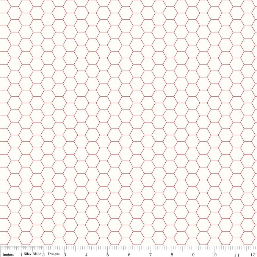 Bee Backgrounds Honeycomb Red C6387-RED
