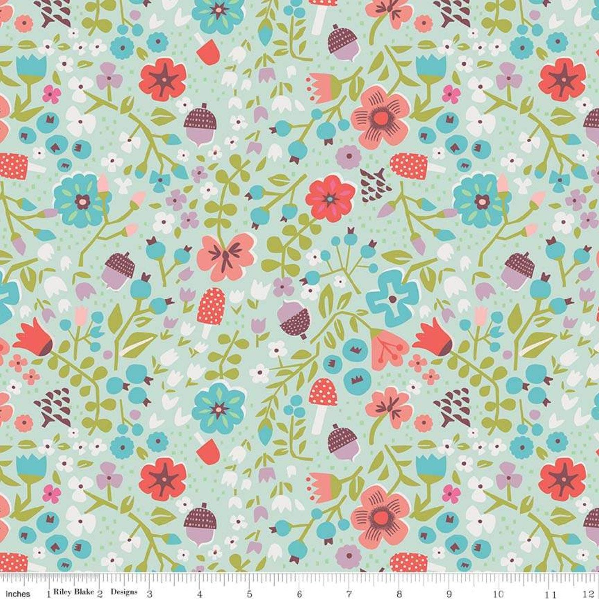 Little Red in the Woods Floral Mint