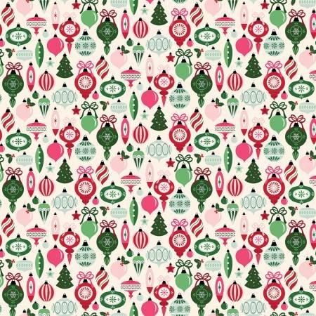 Merry and Bright Ornaments Cream C8391-CREAM