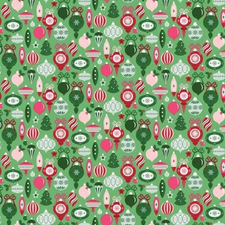 Merry and Bright Ornaments Lt Green C8391-LTGREEN