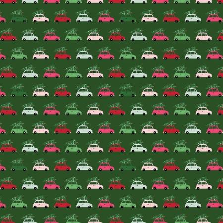 Merry and Bright Cars Green C8393-GREEN