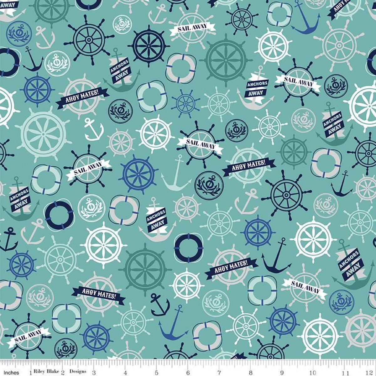 Deep Blue Sea Anchors Teal