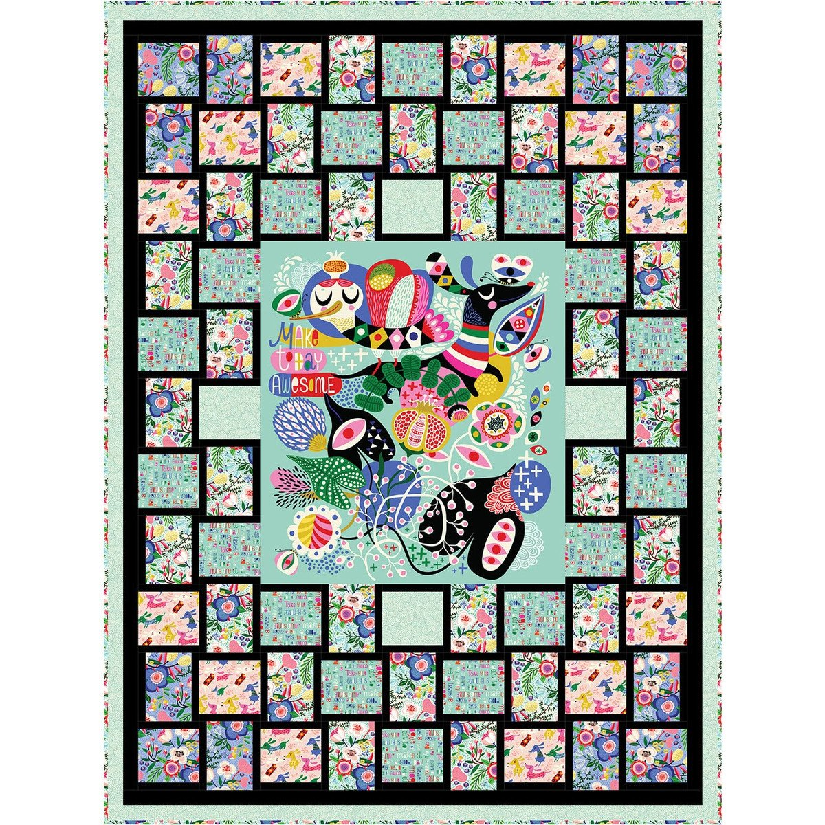 Awesome Mosaic Frame Quilt Kit Dark