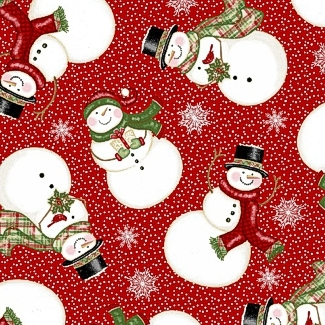Winter Greetings Tosssed Snowmen Red 4215-88