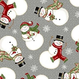 Winter Greetings Tossed Snowmen Grey 4215-90