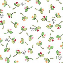 Lil' Sprout Flannel Too Sprouts n' Hearts White F8232W
