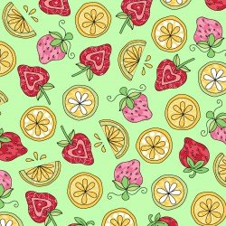 Lil' Sprout Flannel Too Strawberries n' Lemons Green F8234G