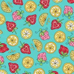 Lil' Sprout Flannel Too Strawberries n' Lemons Teal F8234Q