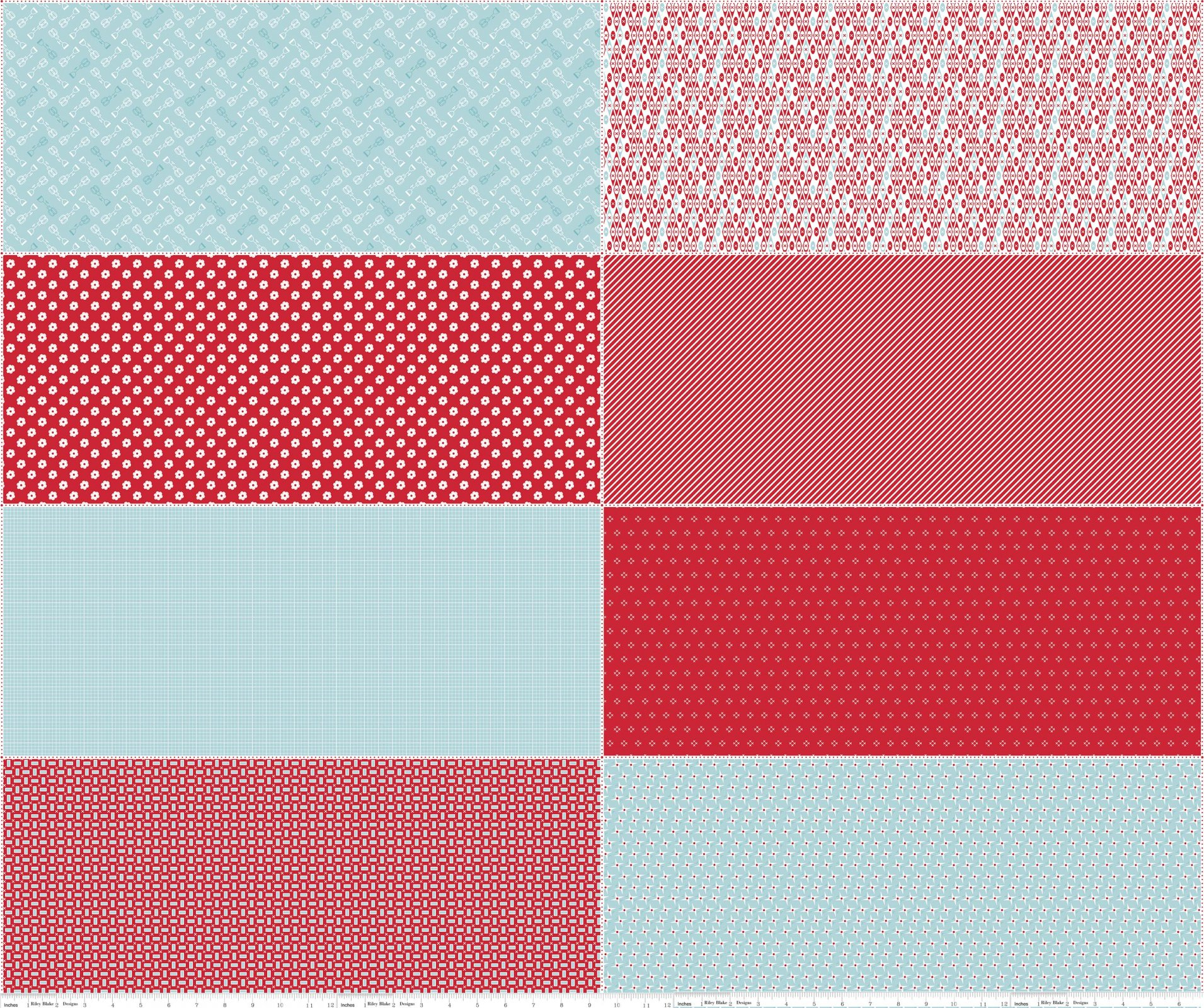 Bake Sale 2 Fat Eighth Panel FEP6989-RED