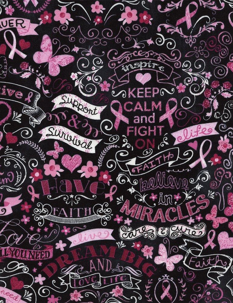 Breast Cancer Awareness Pink Ribbon Chalkboard