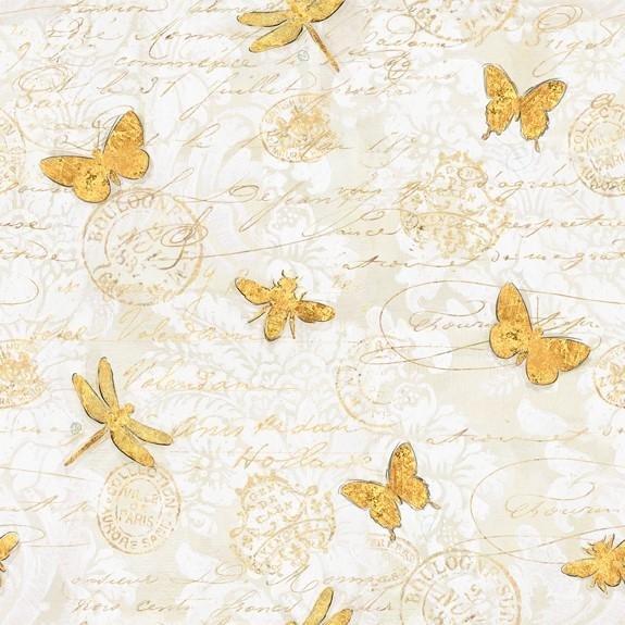 Hydrangea Dreams Gilded Butterflies Ivory 96440-151