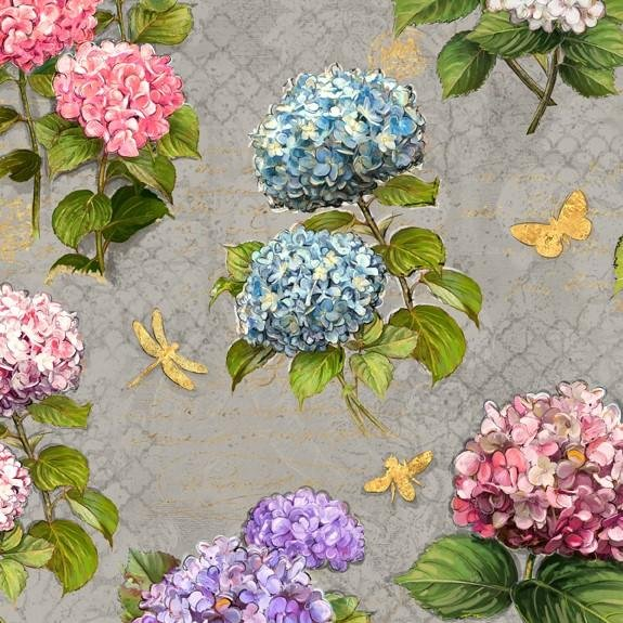 Hydrangea Dreams Large All Over Gray 96437-434
