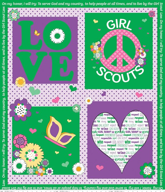 Girl Scout Panel - Green P6776-Green
