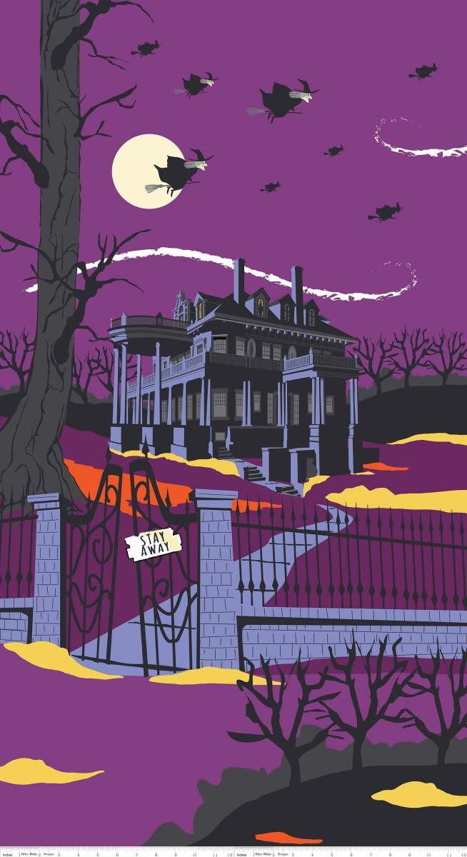 Haunted House Panel Purple Riley Blake P7137-PURPLE