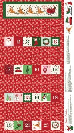 Merry and Bright Advent Panel 24 P8397-RED