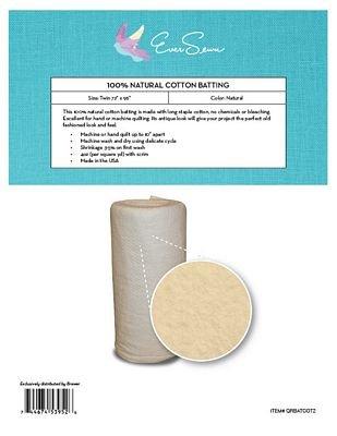 Batting Natural Cotton Twin 72x96 QRBATCOT2