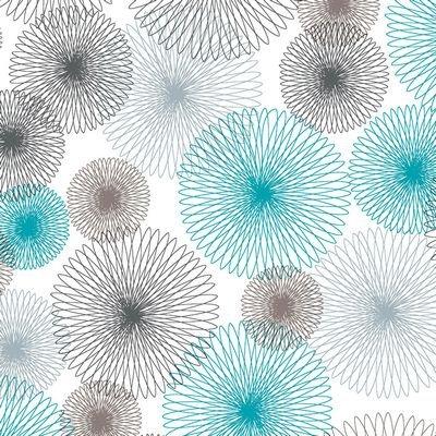 Jersey Knit Print - Spirograph Turq