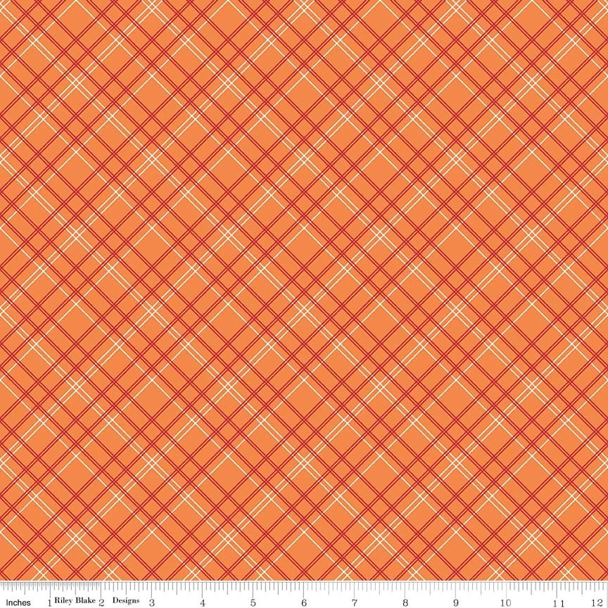 Bee Backings & Borders Plaid Orange 107/108 Wide WB6422-ORANGE