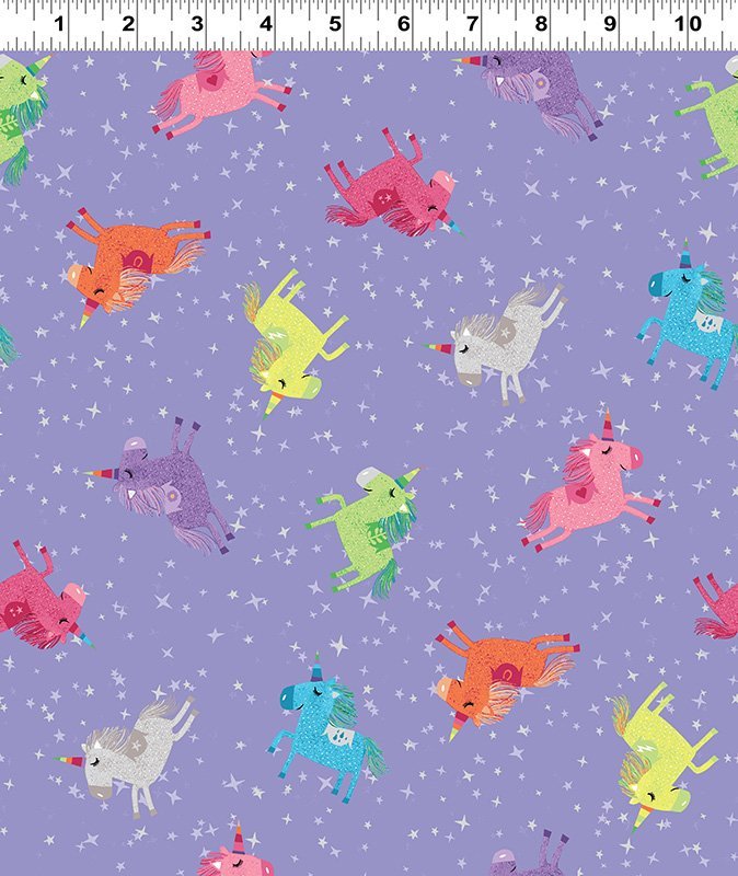 Shine Bright Unicorns by Katie Webb Design Purple