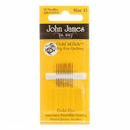 John James Gold'n Glide Big Eye Between / Quilting Needles Size 11 10ct JJEG125-11
