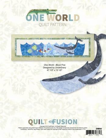 Quilt Fusion One World Quilt Pattern Block 5 Whale OW05