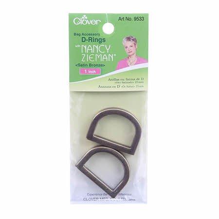 Clover Needlecraft Satin Bronze D-Rings 1in 9533