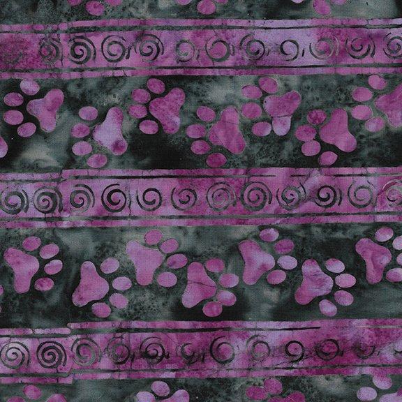 Island Batik - Feline Fine - Paw Stripe Blackberry 621801485