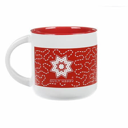 Quilt Happy Meandering Mug-Red