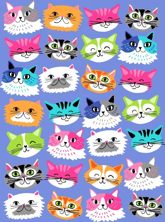 Blank Quilting Kitten Kaboodle 8242 077 Blue