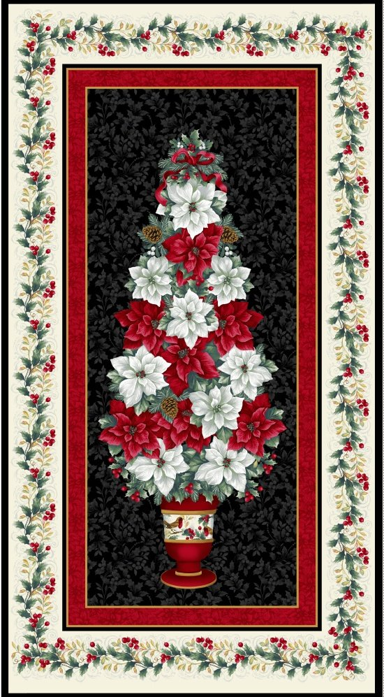 Blank Holiday Trimmings Panel 8597P 099 Black