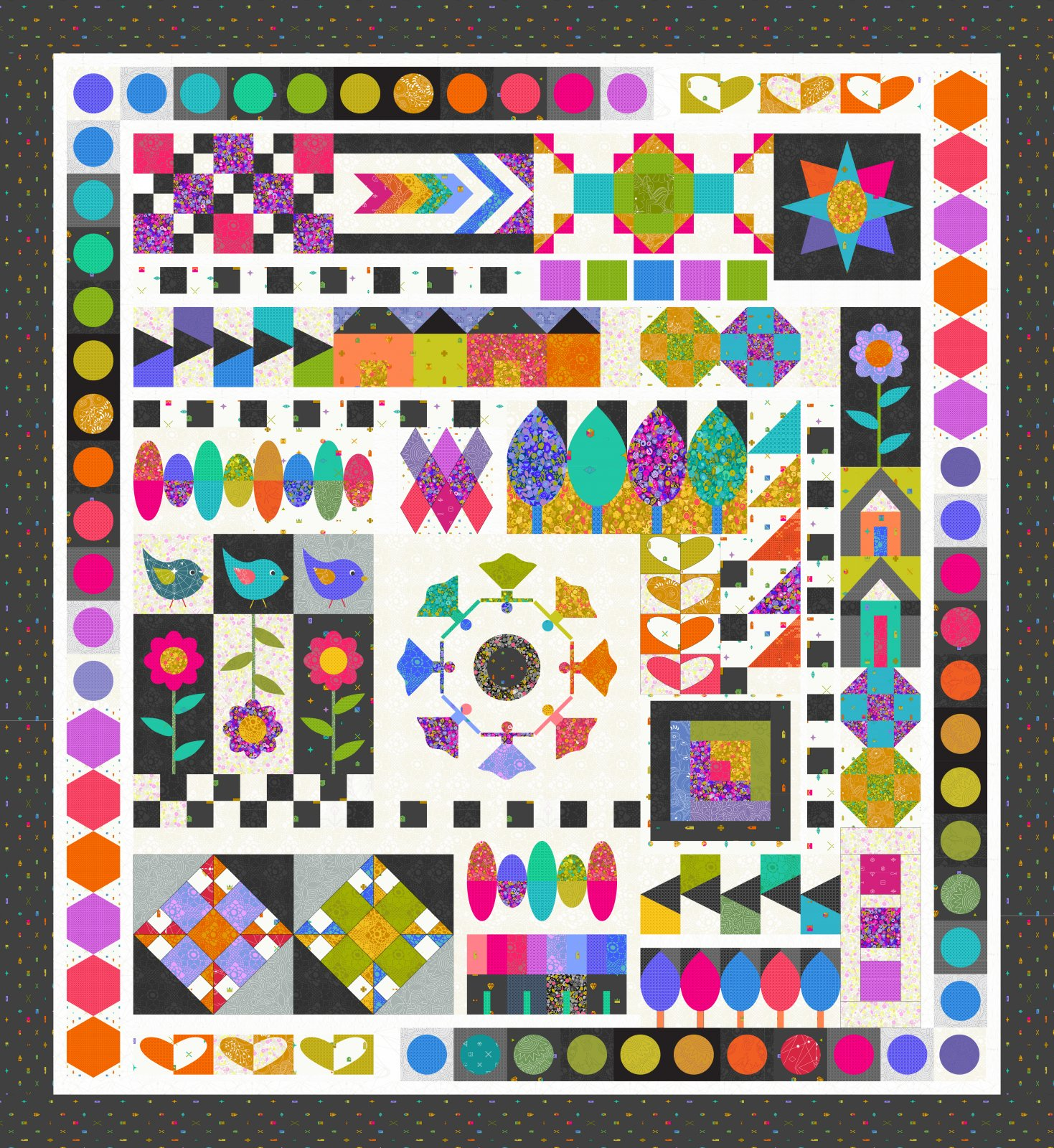 Dolly Mixtures Quiltalong Pattern, Fabric and Thread Kit