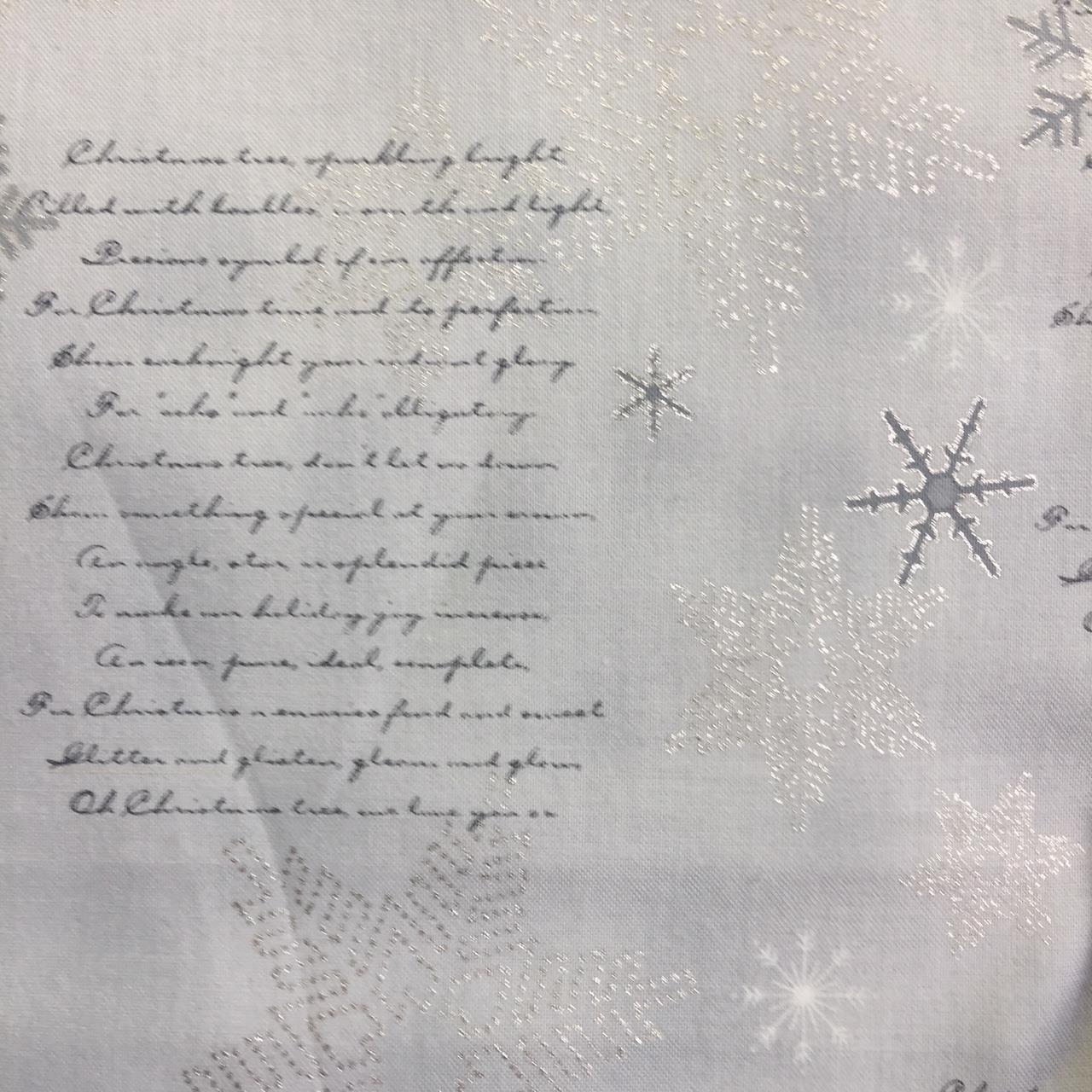 Stof Brilliant Christmas Text Snowflakes Silver