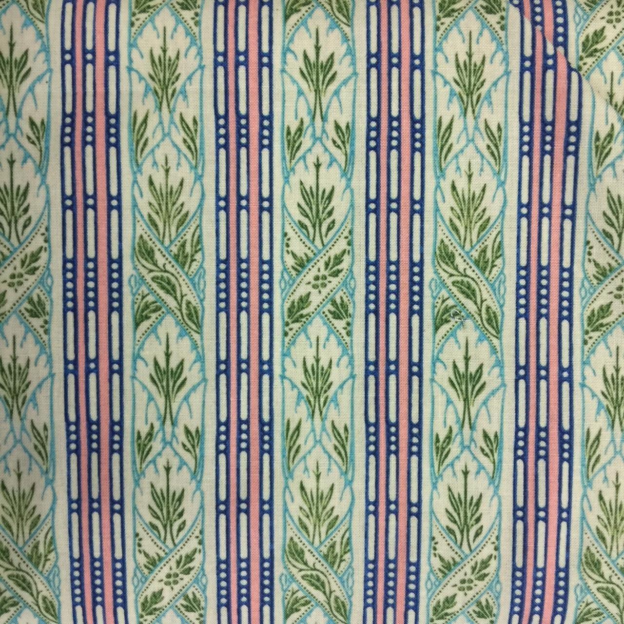 Victoria and Albert Vintage Florals Stripe - Pedestal Blue