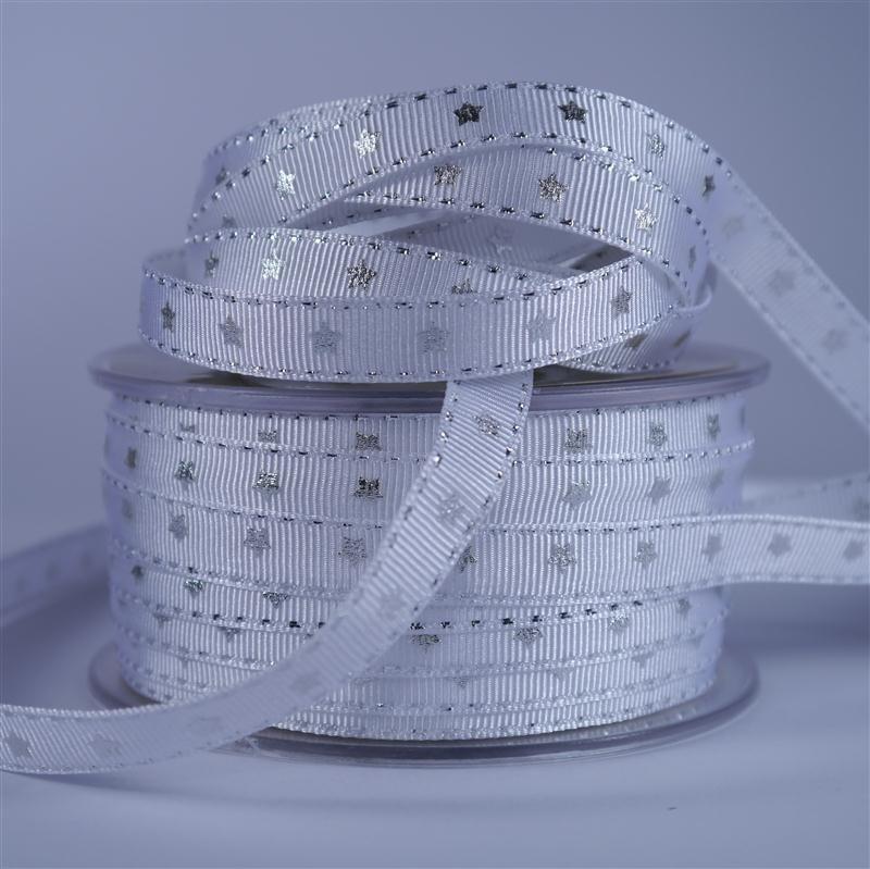Ribbon White / Silver stars 10mm