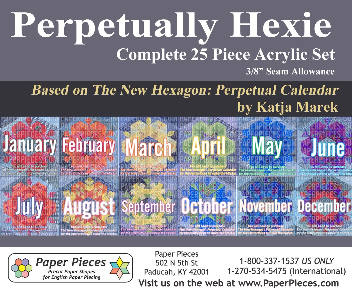 Acrylic Fabric Cutting Template (25 piece set) for Perpetually Hexie Project