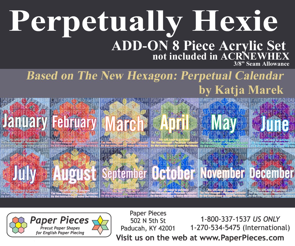 Acrylic Fabric Cutting Template (8 piece set) for Perpetually Hexie Project (for ACRNEWHEX owners)