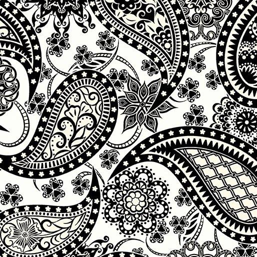Black Paisley on White