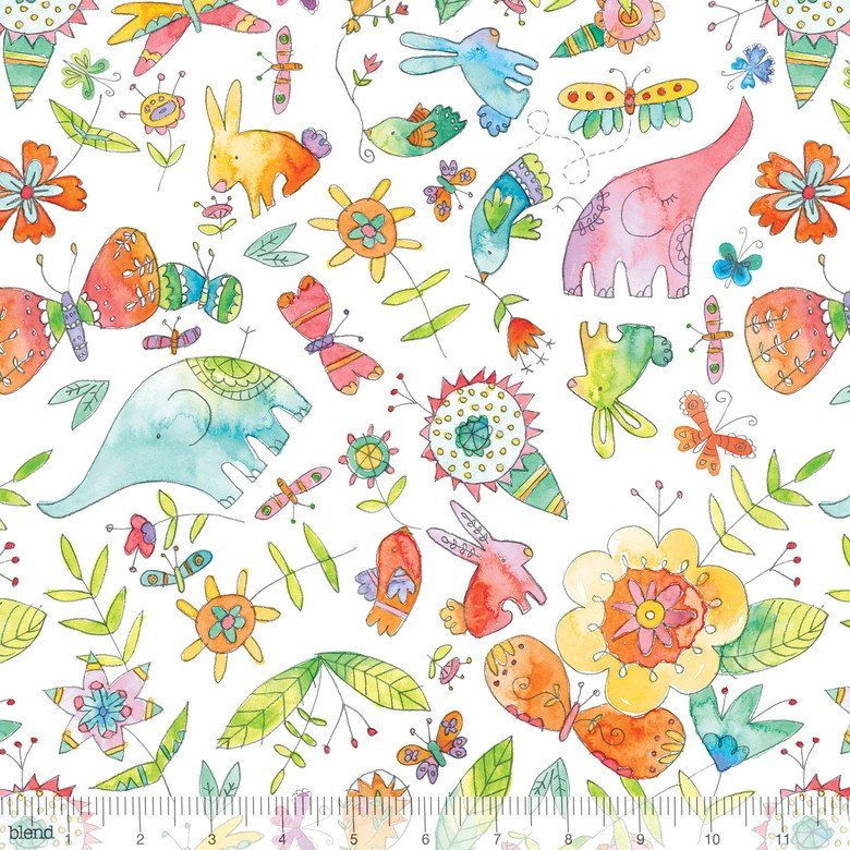 Blend Fabric 113-115-01-1waltz of whimsy Love Big White