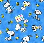 Quilting Treasures 1649-22324-B BLUE SNOOPY AND WOODSTOCK TOSS-PROJECT LINUS
