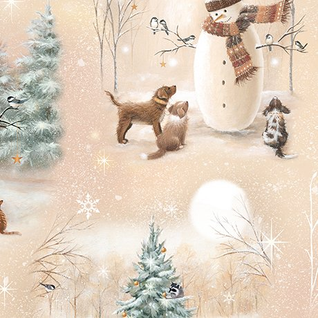 Quilting Treasures 1649-25839-A Woodland Friends-Snowmen VIGNETTES- Tan